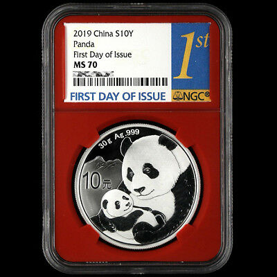 2019 China S10Y Panda First Day of Issue (Red) NGC MS70 30g