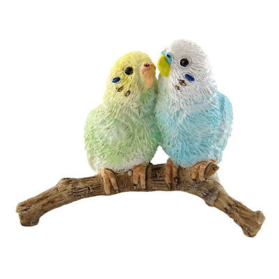 """Mini Budgie Parakeets Figurine Blue and Green 1.75"""" High New In Box!"""