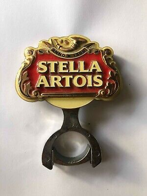 Stella Artois metal beer decal badge with mounting bracket