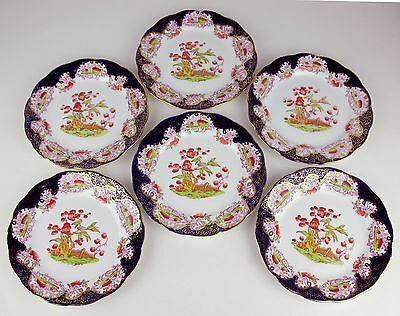 6 x Dessert Tea Plates Vintage Royal Albert Crown China imari flow blue chinoise