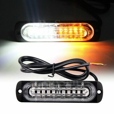 2pcs Amber White 10-LED Strobe Warning Light Flashing Truck Trailer Pick-up SUV