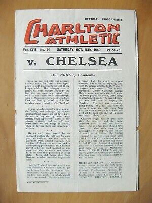 CHARLTON ATHLETIC v CHELSEA 1949/1950 *Good Condition Football Programme*