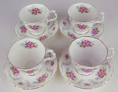 Set 4 x Teacups + Saucers Royal Albert Tranquillity tranquility tea cups reduced