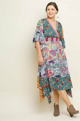 c16ae2a738 New Umgee Plus Size Boho Gypsy Floral Bell Sleeves Surplice Maxi Dress XL