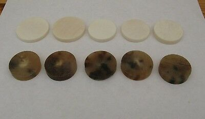 5 Straw Horn & 5 White Bone  Spacers For Walking Stickmaking/ Crafts/jewellery