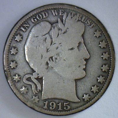 1915 Barber Half Dollar Silver Type Coin Fifty Cent 50 Cents Very Good Condition