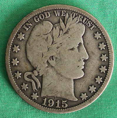 1915 Barber Half Dollar Silver Type Coin Fifty Cent 50 Cents VG Philadelphia