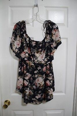 b502c123fe5443 SIREN LILY MATERNITY Blue Floral Ruffle Peasant Blouse Top 2X Plus NWT