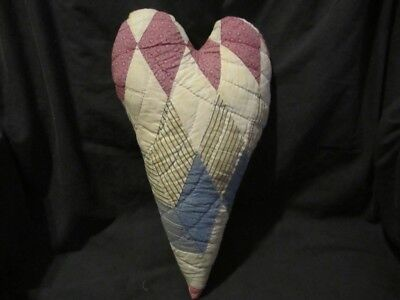 Primitive quilted  heart - large - vintage hand stitched quilt -29