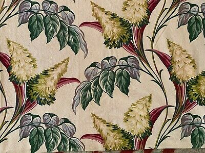 VTG 1940s 50s Nubby BARKCLOTH DRAPE 62 X 68 Fronds Floral Green Red Tan Flower