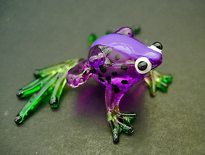 Glass FROG Spotted Purple Painted Glass Animal Glass Ornament Cute Glass Figure