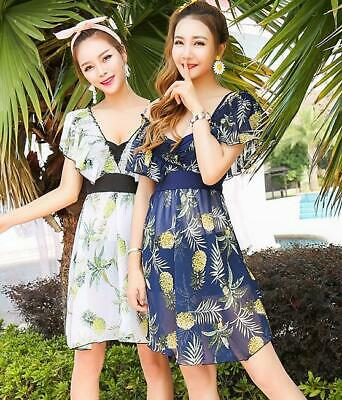 Beach swimwear Chiffon SwimDRESS padded bra under wire pineapple printed 18090