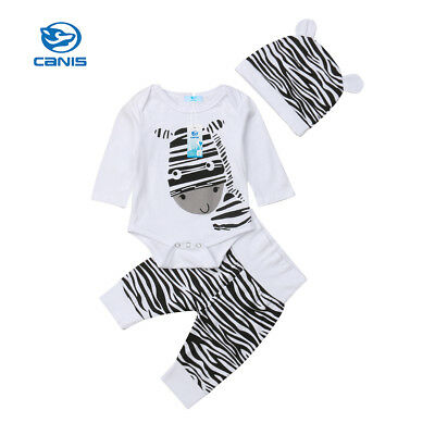 3PCS Newborn Baby Girl Boy Zebra Clothes Bodysuit Romper Playsuit Pants Outfits