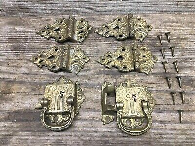 Vintage Gold/brass Color (4) Hinges, (2) Latches Very Ornate