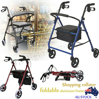 Adjustable Folding Walker Rollator Mobility Walking Aid Care Frame Medical Chair