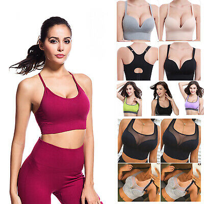 US Women Racerback Sports Bra Padded Seamless Support Yoga Gym Workout  Fitness 16cda181b0c