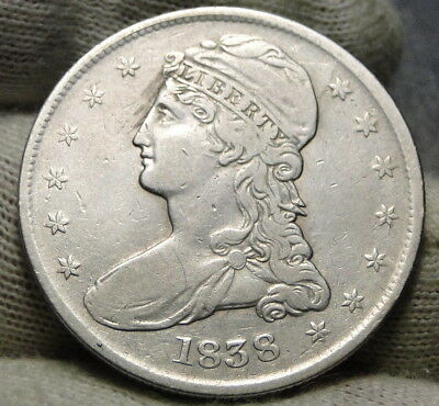 1838 Capped Bust Half Dollar 50 Cents -  Nice Coin Free Shipping (7749)