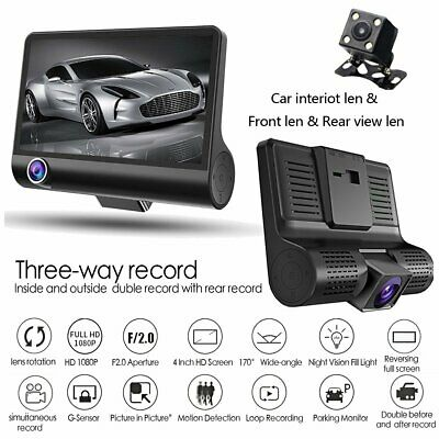 "Car DVR 4"" 3 Cam Lens Front+Rear+Inside Video Recorder Camera G-sensor 1080P UK"