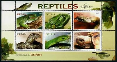 HERRICKSTAMP NEW ISSUES BENIN Reptiles Stamp Sheetlet of 6 Different