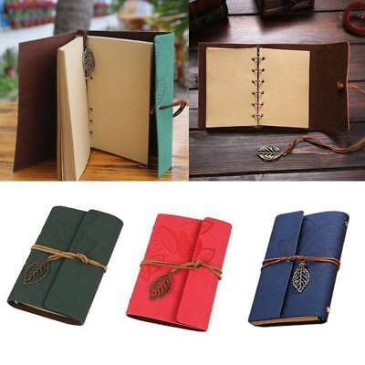 Vintage Retro PU Leather Cover Leaf Journal Travel Notepad Notebook Blank Diary