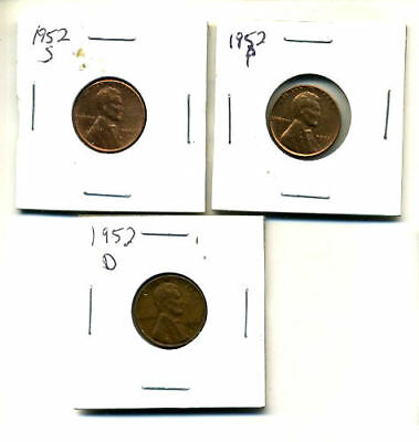 1952 P,d,s Wheat Pennies Lincoln Cents Circulated 2X2 Flips 3 Coin Pds Set#289