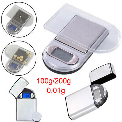 0.01g x 100/200g Mini Digital Pocket Scale Lighter Jewelry Diamond Weight Scales