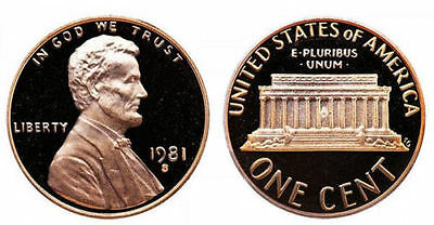 1981 S GEM BU PROOF Lincoln MemoriaL BRILLIANT UNCIRCULATED PENNY US COIN PF