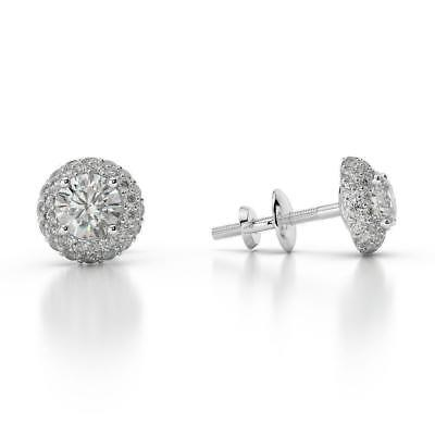 Exquisite 1.50 Ct F Vs2 Round Cut Diamond Halo Stud Earrings 14 K White Gold