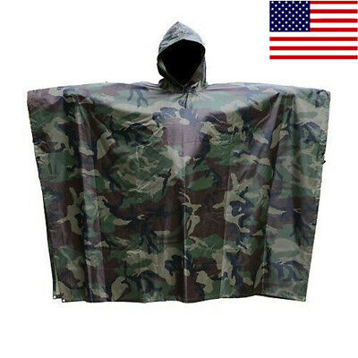 US Stock Military Woodland Camo Ripstop Wet Weather Rain Poncho Camping Hiking
