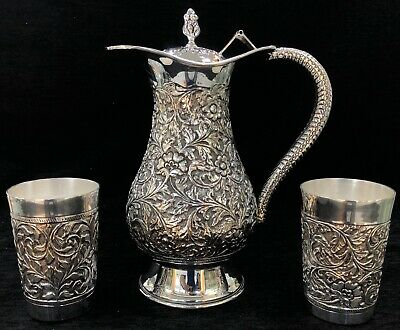 Sterling Silver 925 Floral Repoussé Work Jug Set With Two Glasses Claret