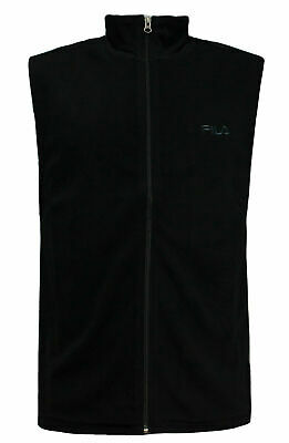 Fila Mens Gilet Bodywarmer Fleece Waistcoat Zip Up Top Black U89672 001 OPM1