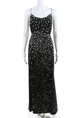 Badgley Mischka Dress Black Floral Lace Overlay Size 6 Peach