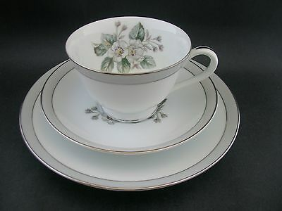 NORITAKE FLORAL BLOSSOM TRIO Vintage China Tea Cup Saucer Plate RC Japan c1950s
