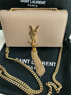 New YSL Yves Saint Laurent Classic Chain Crossbody Tassel Beige White Bag a02ddadd71407