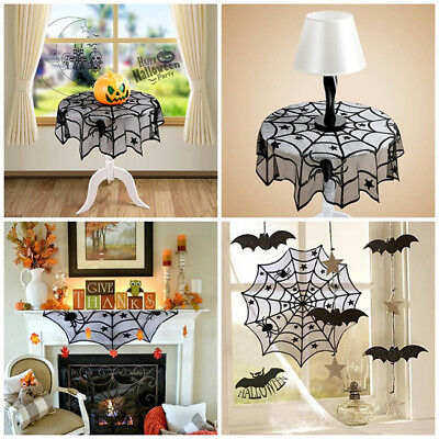 Halloween Decoration Props Black Lace Spiderweb Fireplace Mantle Scarf BS