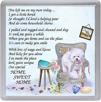 "Bichon Frise Dog Coaster ""HOME SWEET HOME Poem ...."" by Starprint"