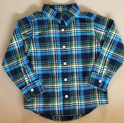 1178543e61a3f Lands End Little Boys Large Poplin Long Sleeve Shirt Size 7 Blue Green Plaid
