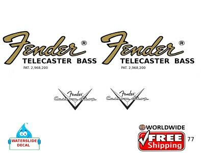 Fender Telecaster Bass Guitar Decal Headstock Inlay Restoration Logo 77