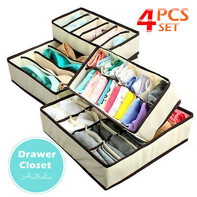 AU 4Pcs/set Underwear Bra Socks Ties Drawer Closet Divider Organiser Box Storage
