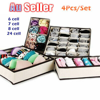 4PCS Foldable Storage Drawer Organizer Closet Bra Underwear Socks Drawer Divider