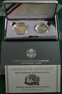 1991 PROOF Mount Rushmore 2 Coin 90% Silver Dollar and Half $ with Box and COA