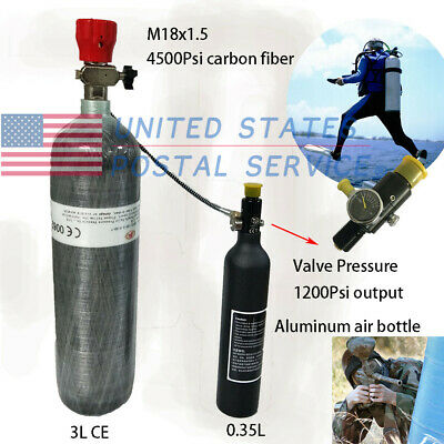 0.35L Aluminum Air Bottle&3L CE Carbon Fiber Air Tank+1200Psi Valve For Fireman