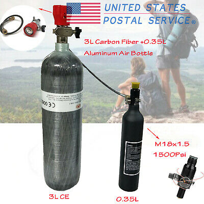 Outdoor 4500Psi 3L CE Air Tank+0.35L Air Bottle&Valve For Diving Breathing US