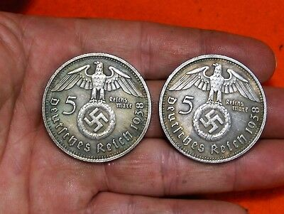 Lot Of 2 - Large 1938 Dated Hindenburg German 5 Reichsmark Commemorative Coin