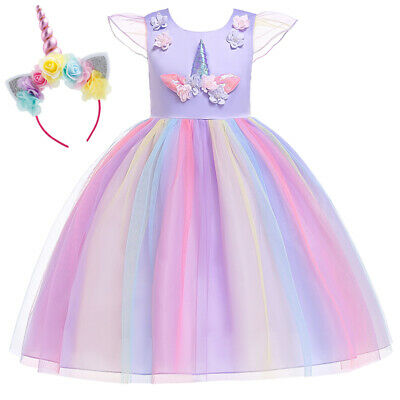 Cute Unicorn Toddler Kid Baby Girl Party Tulle Dress Sundress Rainbow Headband