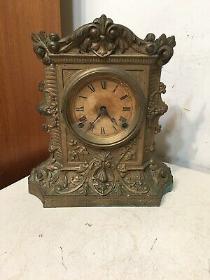 Antique Ansonia Decorative Cast Metal Front Mantle Clock N Muller Style Era