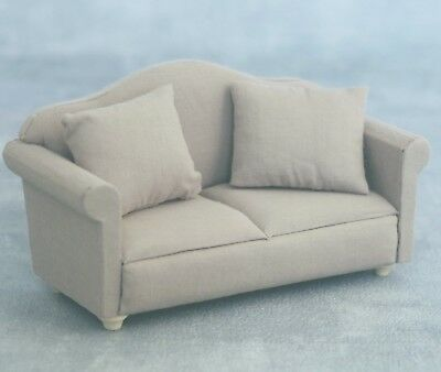 Dolls House Furniture: Grey Sofa in 12th scale