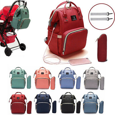 Mummy Diaper Bag Backpack Large Capacity Baby Maternity Nappy Tote USB Interface