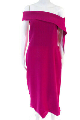 ca9d235f2b2ee4 Christian Siriano Womens Fuchsia Drape Sheath Dress Purple Size 14 11082558