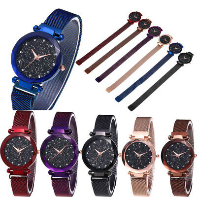 Luxury Starry Sky Watch Magnet Strap Free Buckle Stainless Steel Women Gift New